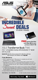 Asus Transformer Book T100TA Incredible Sweet Deals Student Promo!